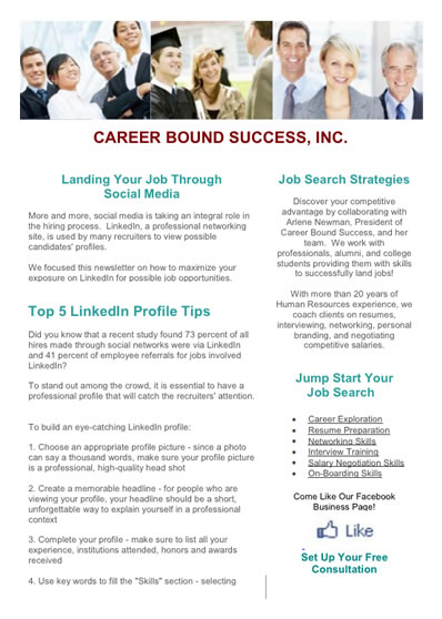 newsletters career bound success inc